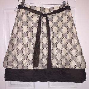 Alice + Olivia circle skirt~Brown & Cream Sz 6